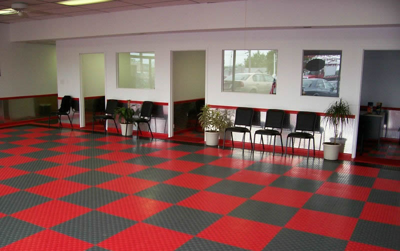 office tile flooring. Large Office: Diamondtrax (Racing Red, Slate Grey) Office Tile Flooring O