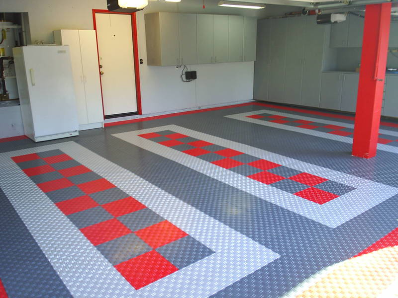 Stylish modular floors tiles and garage flooring - Double garage interior design ...