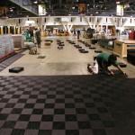 Show floor installation in progress with Ribtrax.